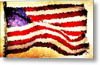 Painted American Flag Metal Print by Andrea Barbieri