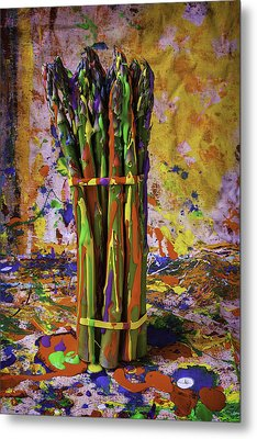 Painted Asparagus Metal Print by Garry Gay