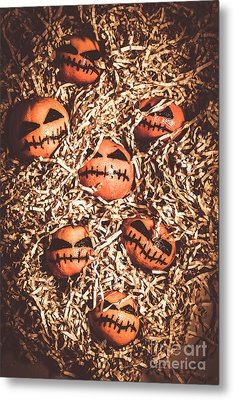 painted tangerines for Halloween Metal Print by Jorgo Photography - Wall Art Gallery