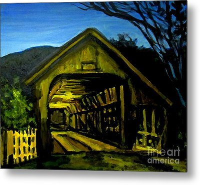 Painting Of Woodstock Bridge Vermont At Night Metal Print by John Malone