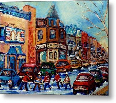 Paintings Of Montreal Hockey On Fairmount Street Metal Print by Carole Spandau