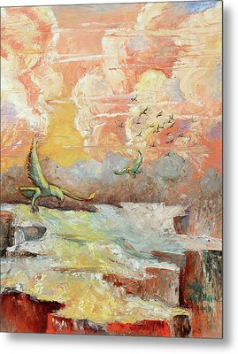 Palette Knife Flight Metal Print by Carolyn Coffey Wallace