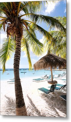 Palm Trees And Palapa Metal Print by George Oze