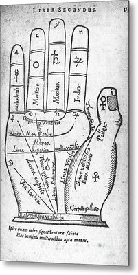 Palmistry Diagram, 1616 Metal Print by Middle Temple Library