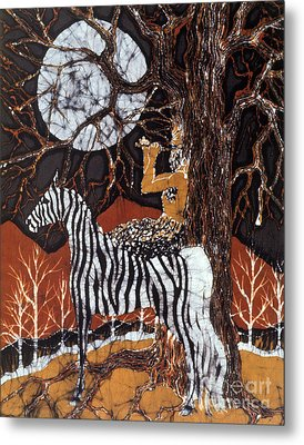 Pan Calls The Moon From Zebra Metal Print by Carol Law Conklin
