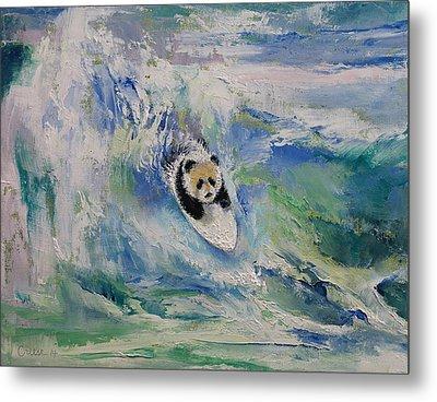 Panda Surfer Metal Print by Michael Creese