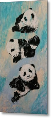 Panda Karate Metal Print by Michael Creese