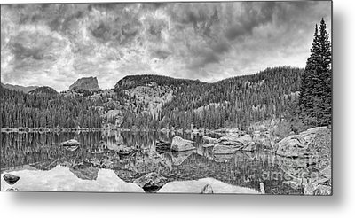 Panorama Of Bear Lake And Halletts Peak In Monochrome - Rocky Mountain National Park Estes Park Colo Metal Print by Silvio Ligutti