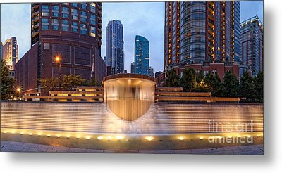 Panorama Of Centennial Fountains At Twilight Chicago River - Near North Side Chicago Illinois Metal Print by Silvio Ligutti