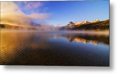 Panorama Of Redfish Lake Sunrise In Stanley Idaho Usa Metal Print by Vishwanath Bhat