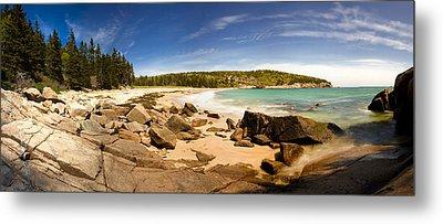 Panorama Of Sand Beach At Acadia Metal Print by Brent L Ander