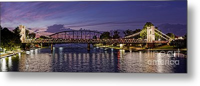 Panorama Of Waco Suspension Bridge Over The Brazos River At Twilight - Waco Central Texas Metal Print by Silvio Ligutti