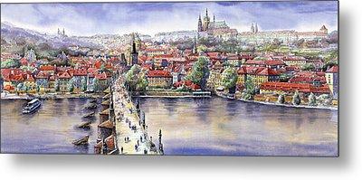 Panorama With Vltava River Charles Bridge And Prague Castle St Vit Metal Print by Yuriy  Shevchuk