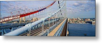 Panoramic View Of Ben Franklin Bridge Metal Print by Panoramic Images