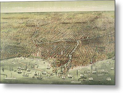 Panoramic View Of The City Of Chicago Metal Print by American School