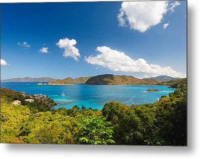 Panoramic View Of Trunk Bay Metal Print by George Oze