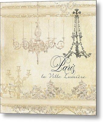 Parchment Paris - City Of Light Chandelier Candelabra Chalk Metal Print by Audrey Jeanne Roberts
