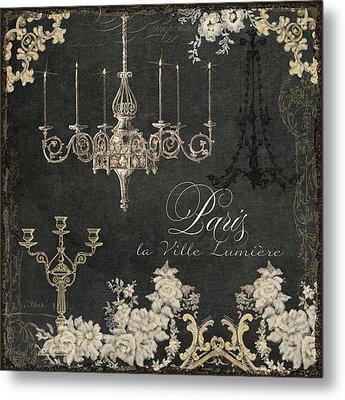 Paris - City Of Light Chandelier Candelabra Chalk Metal Print by Audrey Jeanne Roberts