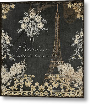 Paris - City Of Love Eiffel Tower Chalk Metal Print by Audrey Jeanne Roberts