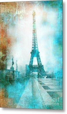 Paris Eiffel Tower Aqua Impressionistic Abstract Metal Print by Kathy Fornal
