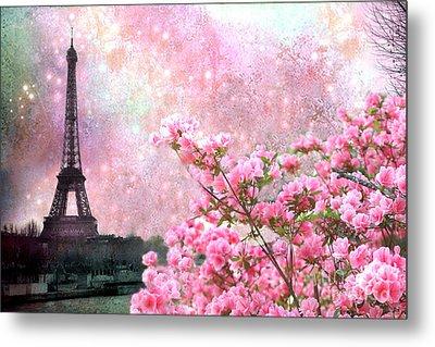 Paris Eiffel Tower Cherry Blossoms - Paris Spring Eiffel Tower Pink Blossoms  Metal Print by Kathy Fornal