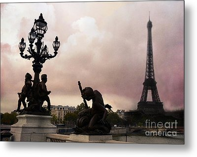 Paris Pont Alexandre IIi Bridge - Dreamy Romantic Paris Bridge With Cherubs Lanterns Eiffel Tower Metal Print by Kathy Fornal
