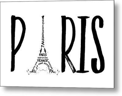 Paris Typography Metal Print by Melanie Viola