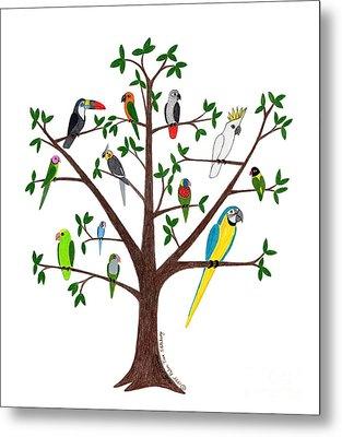 Parrot Tree Metal Print by Rita Palmer