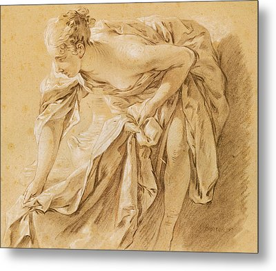 Partially Nude Woman Bathing Metal Print by Francois Boucher