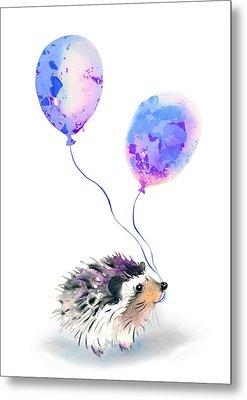 Party Hedgehog Metal Print by Kristina Bros