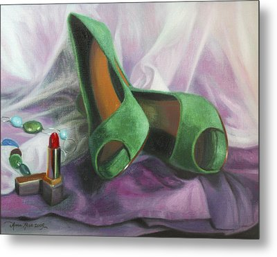 Party Shoes Metal Print by Anna Rose Bain