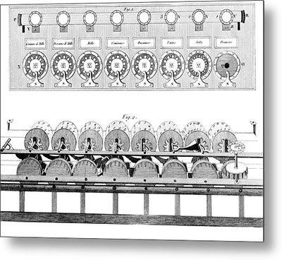 Pascal's Calculator, 17th Century Artwork Metal Print by Library Of Congress