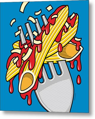 Pasta On Blue Metal Print by Ron Magnes