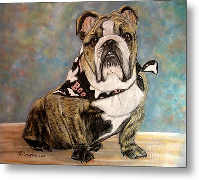 Pastel English Brindle Bull Dog Metal Print by Patricia L Davidson