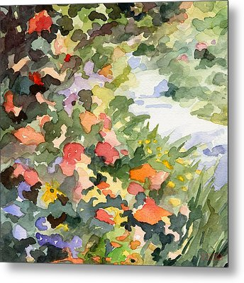 Path Monets Garden Watercolor Paintings Of France Metal Print by Beverly Brown Prints