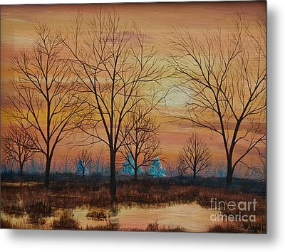 Patomac River Sunset Metal Print by AnnaJo Vahle