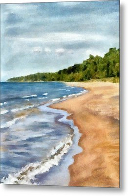 Peaceful Beach At Pier Cove Ll Metal Print by Michelle Calkins