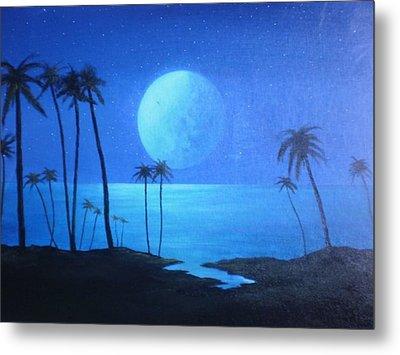 Peaceful Moonlit Night Metal Print by Michael Odom
