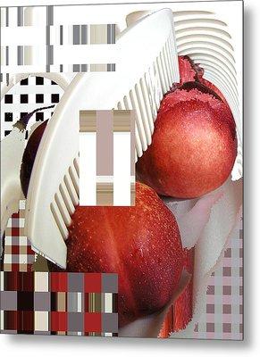Peach And Haircomb Metal Print by Evguenia Men