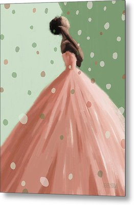 Peach And Mint Green Fashion Art Metal Print by Beverly Brown Prints