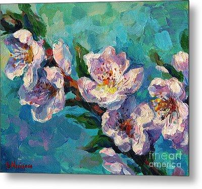 Peach Blossoms Flowers Painting Metal Print by Svetlana Novikova