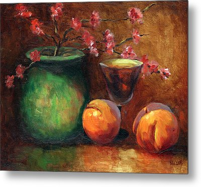Peach Blossoms Metal Print by Linda Hiller