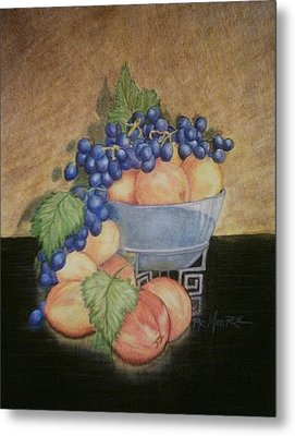 Peaches And Grapes Metal Print by Patricia R Moore