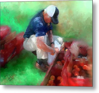 Peaches For Sale Metal Print by Colleen Taylor