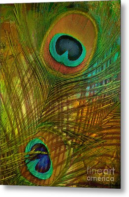 Peacock Candy Green And Gold Metal Print by Mindy Sommers