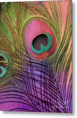 Peacock Candy Pink Green Coral Metal Print by Mindy Sommers