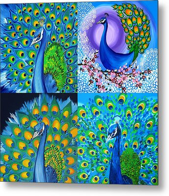 Peacock Collage Metal Print by Cathy Jacobs