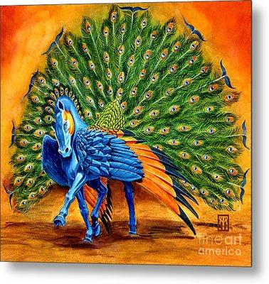 Peacock Pegasus Metal Print by Melissa A Benson