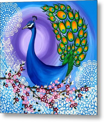 Peacock Spirit Animal Metal Print by Cathy Jacobs