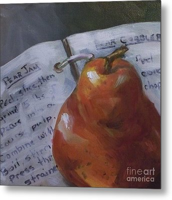 Pear Meets Cookbook Metal Print by Kristine Kainer